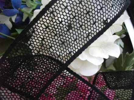 "Black Cotton Cluny Leavers Lace Trim 2.5"" wide. Pattern 2066 - Made in GB"